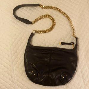 Badgley mischka purse bag black gold chain 8x12